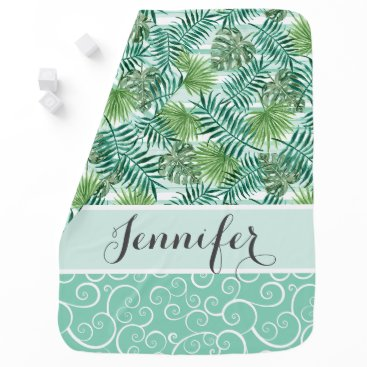 Beach Themed Custom Retro Hip Tropical Green Palm Leafs Pattern Swaddle Blanket