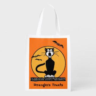 Custom Retro Howling Black Cat Halloween Treat Grocery Bag