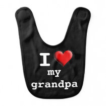 Custom Retro I Love My Grandpa Baby Bib