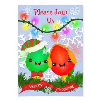 Custom Retro Kawaii Christmas Lights Invitations