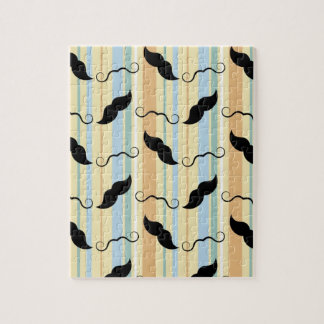 Custom Retro Mustache Pattern with Stripes Jigsaw Puzzle
