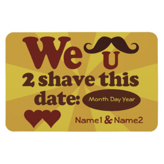 Custom Retro Mustache Save-The-Date magnet