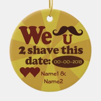 Custom Retro Mustache Save-The-Date ornament