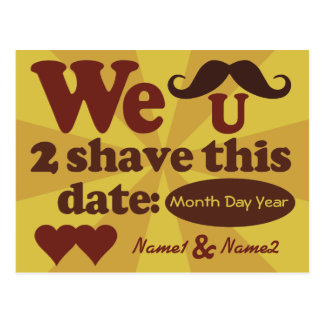 Custom Retro Mustache Save-The-Date postcard