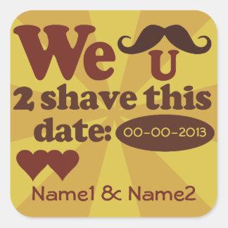 Custom Retro Mustache Save-The-Date stickers