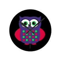 Custom Retro Owl Round Clock