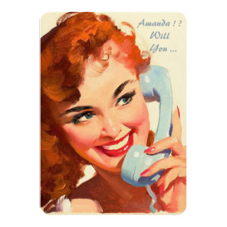 Custom retro pinup be my bridesmaid/maid of honor card