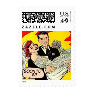 Custom Retro vintage save the date Postage Stamp