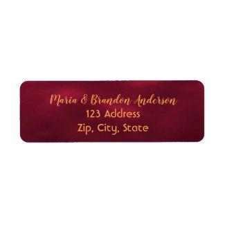 Custom return address label burgundy and gold