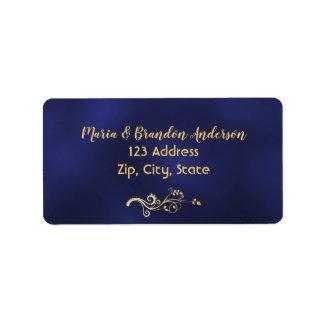 Custom return address label midnight blue and gold