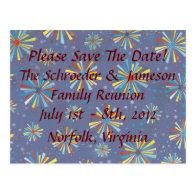 Custom Reunion Fireworks Bursts Save The Date Post Card