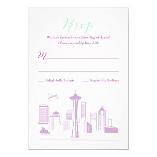 CUSTOM Revised Alexa & Jerry Seattle RSVP 3.5x5 Paper Invitation Card