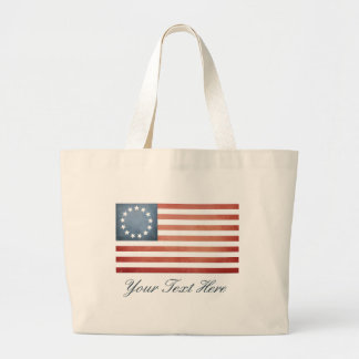 Custom Revolutionary War Betsy Ross Faded US Flag Large Tote Bag