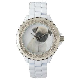 Custom Rhinestone White Enamel Wrist Watch