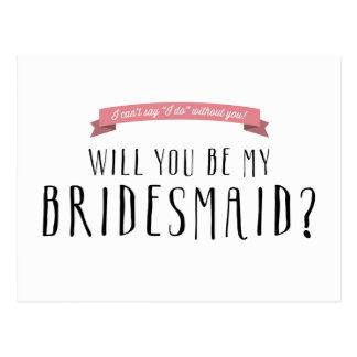 Custom Ribbon Color - Bridesmaid Proposal Postcard