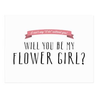 Custom Ribbon Color - Flower Girl Proposal Postcard
