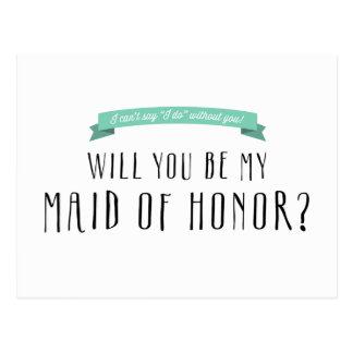 Custom Ribbon Color - Maid of Honor Proposal Postcard