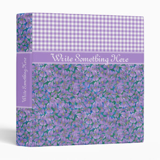 Custom Ring Binder, Violets and Check Gingham Binder