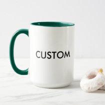 Custom Ringer 15oz Mug - HUNTER GREEN Lip & Handle
