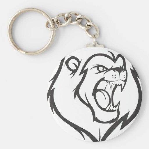 Custom Roaring Angry Lion Outline Sports Logo Basic Round Button Keychain