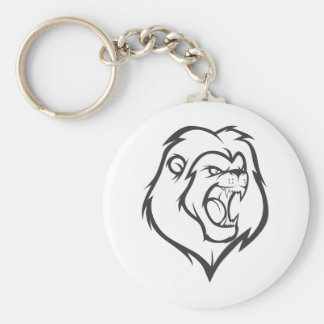 Custom Roaring Angry Lion Outline Sports Logo Key Chains