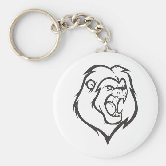 Custom Roaring Angry Lion Outline Sports Logo Keychain