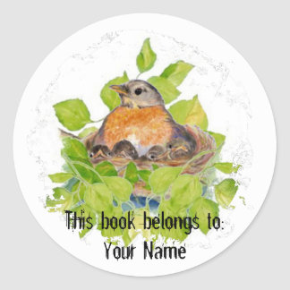 Custom Robin in Nest- Book Plate