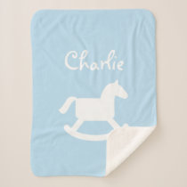 Custom rocking horse baby sherpa fleece blanket