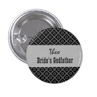 Custom Role Wedding Pink in Black White Silver Pinback Buttons