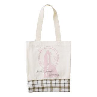 Custom Romantic Dreamy Pink Wedding Couple Zazzle HEART Tote Bag