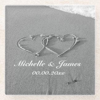 Custom romantic hearts on beach sand glass coaster