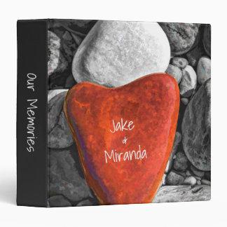 Custom Romantic Red Heart Beach Stone 3 Ring Binder