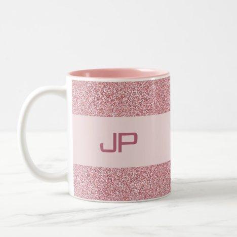Custom Rose Gold Glitter Monogrammed Template Two-Tone Coffee Mug