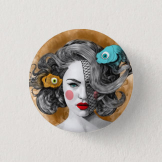 Custom round button/Pisces-fish, woman image Button