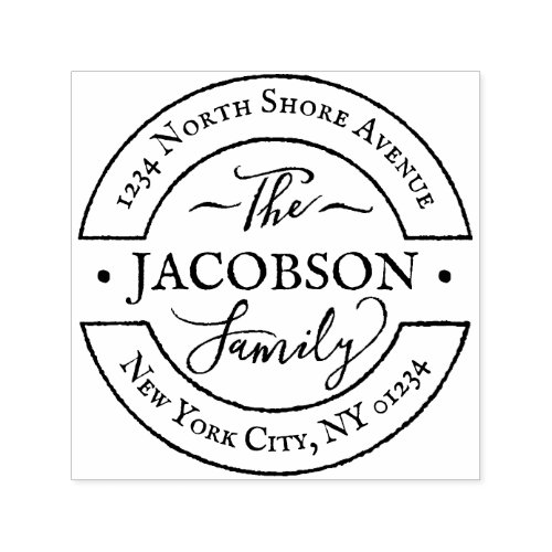 Custom Round Hand Lettered Script Family Monogram Self_inking Stamp