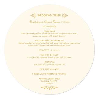 Custom Round Menu | Ivory and Gold 5.25x5.25 Square Paper Invitation Card