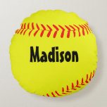 "Custom Round Softball Pillow<br><div class=""desc"">Custom Round Softball Pillow: Add any text (player name,  team name,  number) in the text box to create your own personalized softball pillow.</div>"