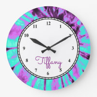 Custom Round Tie Dye Large Clock