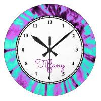 Custom Round Tie Dye Large Clock