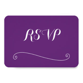 Custom Rounded Purple Wedding RSVP Cards
