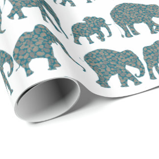 Custom Rows of Paisley Elephants on White Giftwrap Wrapping Paper