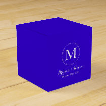Custom Royal Blue Colored Monogram Favor Boxes