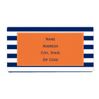 Custom Royal Blue Stripes Pattern with Orange Shipping Label