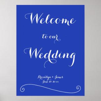 Custom Royal Blue Wedding Reception Print 18x24