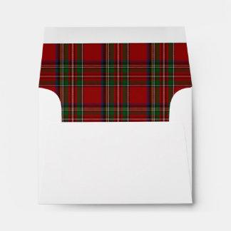 Custom Royal Stewart Plaid Lined Notecard Envelope