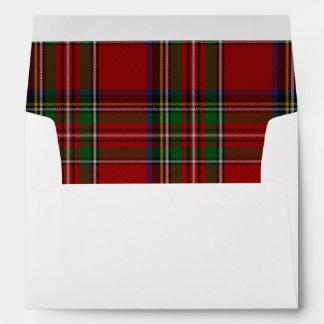 Custom Royal Stewart Plaid Lined Wedding Envelope