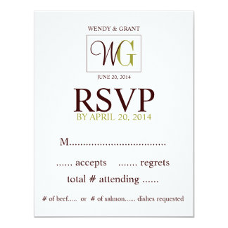 Custom RSVP Reply Card Monogram Wedding Logo