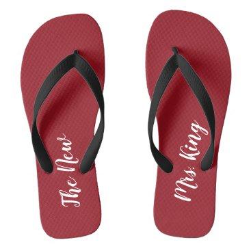 Beach Themed Custom Ruby Red Honeymoon The New Mrs. Flip Flops