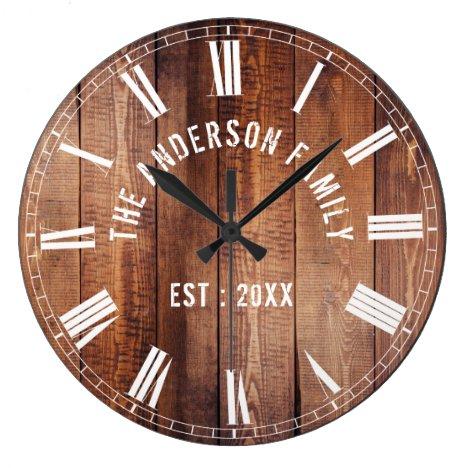 Custom Rustic Brown Wood Family Name Farmhouse Large Clock
