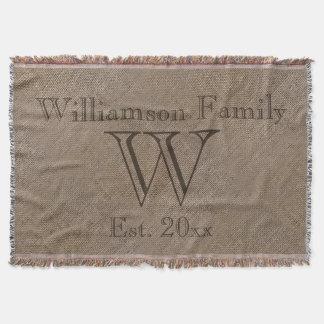 Custom Rustic Burlap-Look Family Keepsake Afghan Throw Blanket